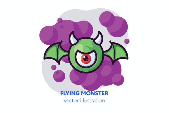 Thumbnail for Flying monster vector illustration