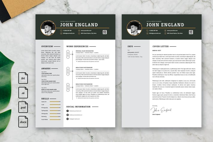 Thumbnail for Professional CV And Resume Template John England