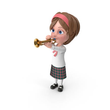 Cartoon Girl Meghan Playing Trumpet