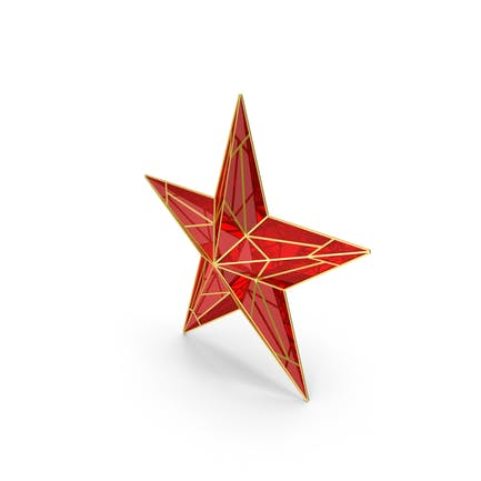 Red Star With Golden Edges