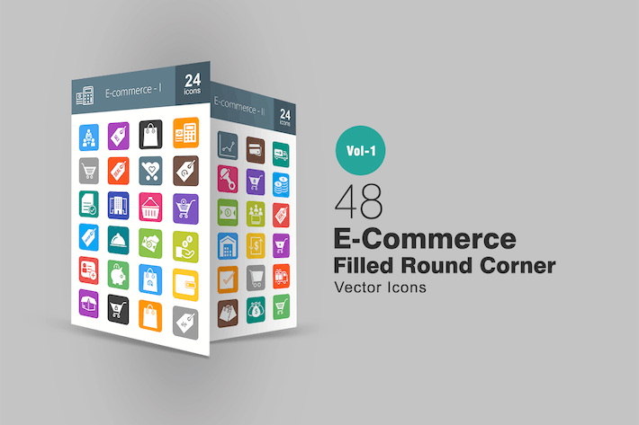 Thumbnail for 48 Ecommerce Filled Round Corner Icons