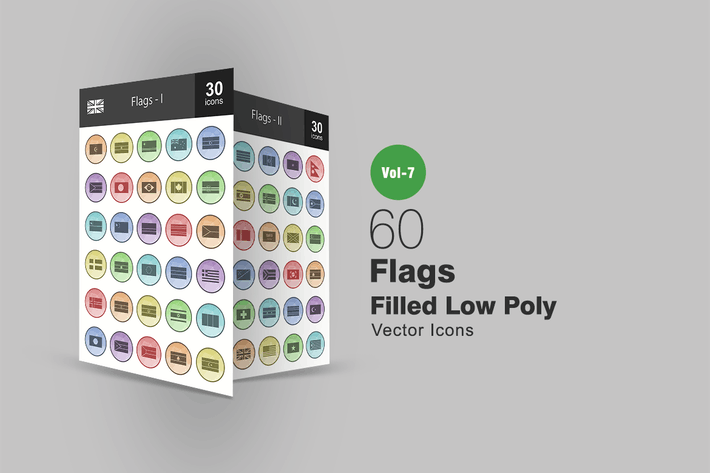Thumbnail for 60 Flags Filled Low Poly Icons