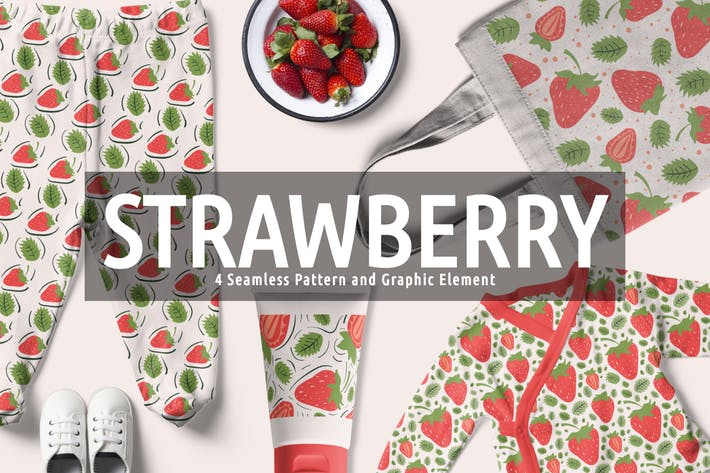 Thumbnail for Strawberry Seamless Pattern And Graphic Element