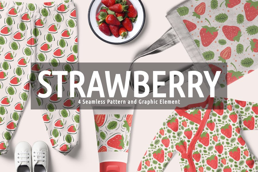 Strawberry Seamless Pattern And Graphic Element
