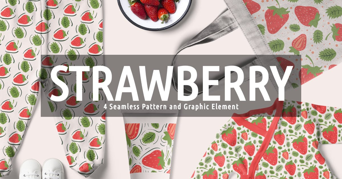 Download Strawberry Seamless Pattern And Graphic Element by OrganicJunkie