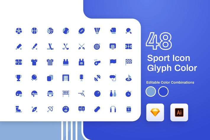 Thumbnail for Sport Glyph Color Icon Set