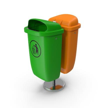 Green and Orange Plastic Public Trash Cans