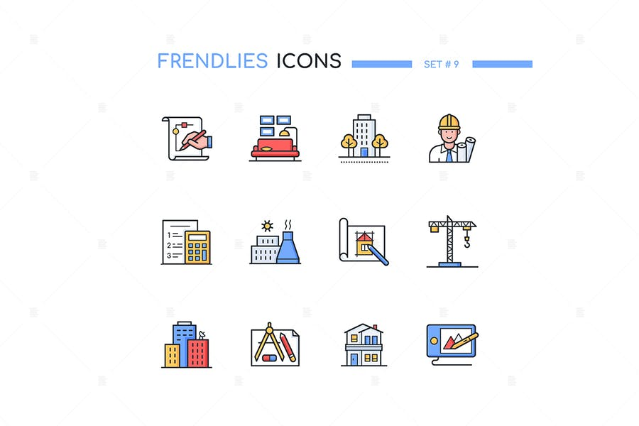 Architecture - modern line design style icons set