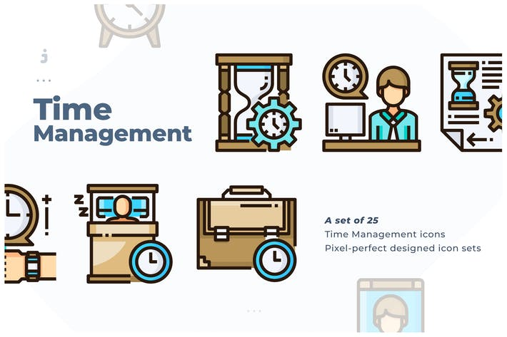 Thumbnail for 25 Time Management Icon set