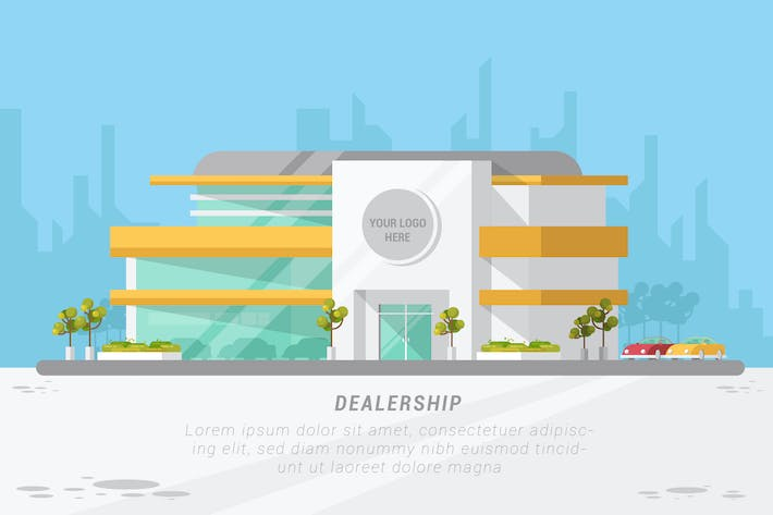 Cover Image For DealerShip - Vector Landscape & Building