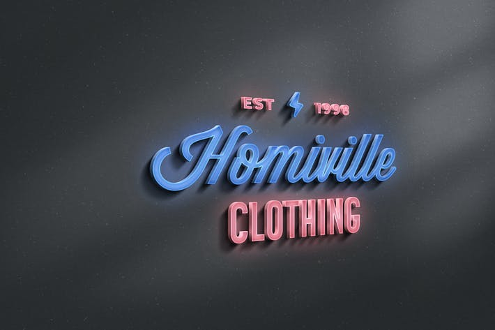 Thumbnail for Neon Sign 3D Logo Mockup