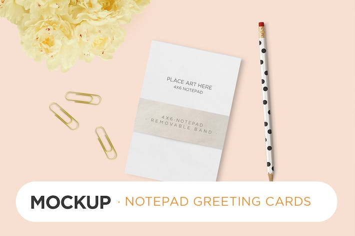 Thumbnail for Invitation Greeting Cards Notepad Mock-Up
