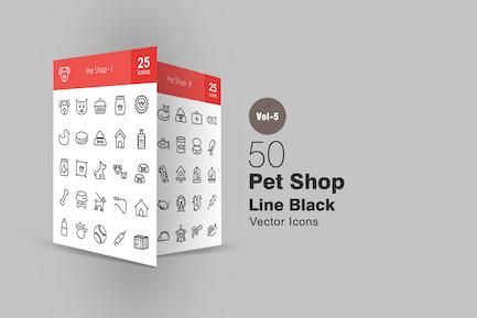 50 Pet Shop Line Icons