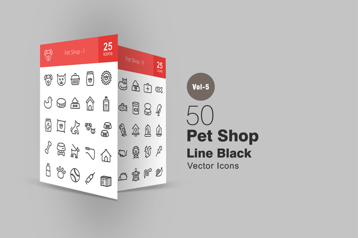 Thumbnail for 50 Pet Shop Line Icons
