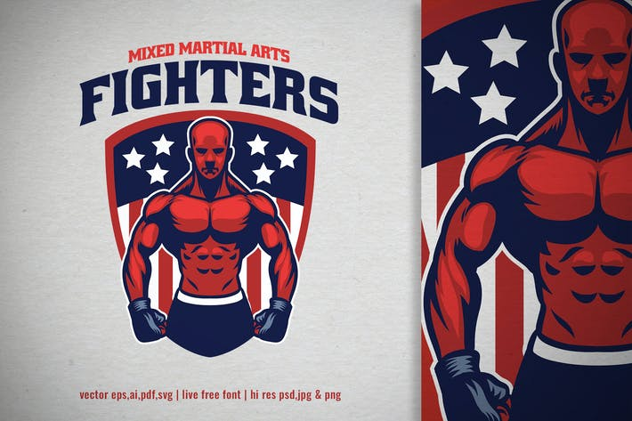 muscle MMA fighter gym logo