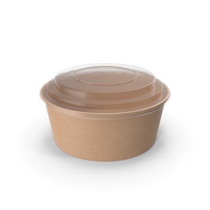 Cuenco de papel kraft con tapa transparente para sopa para ensaladas, 750 ml