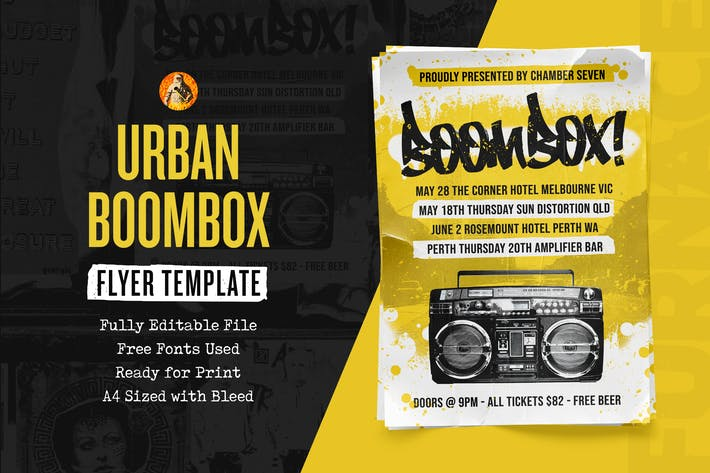 Thumbnail for Boombox - Hip-Hop Flyer Template