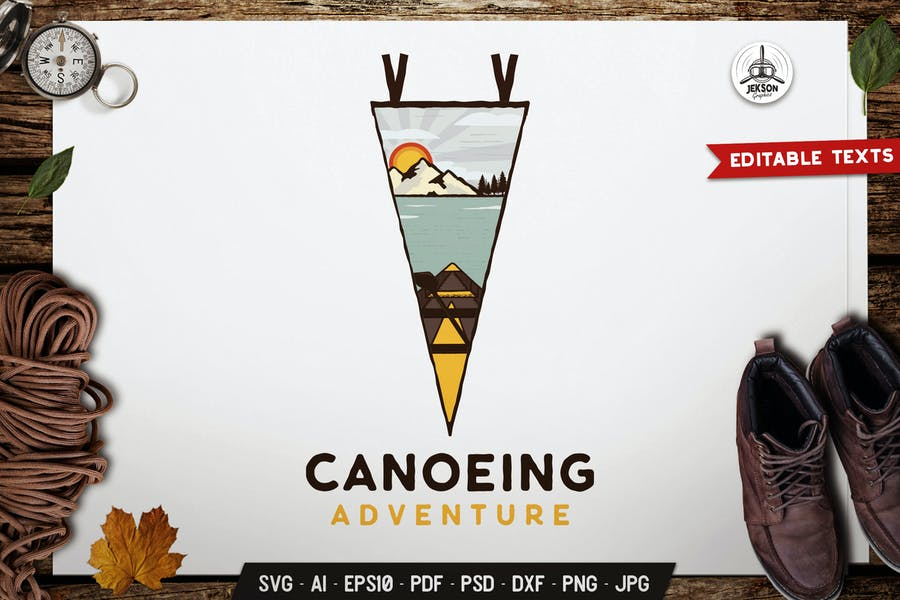 Canoeing Adventure Emblem Logo SVG. Travel Badge