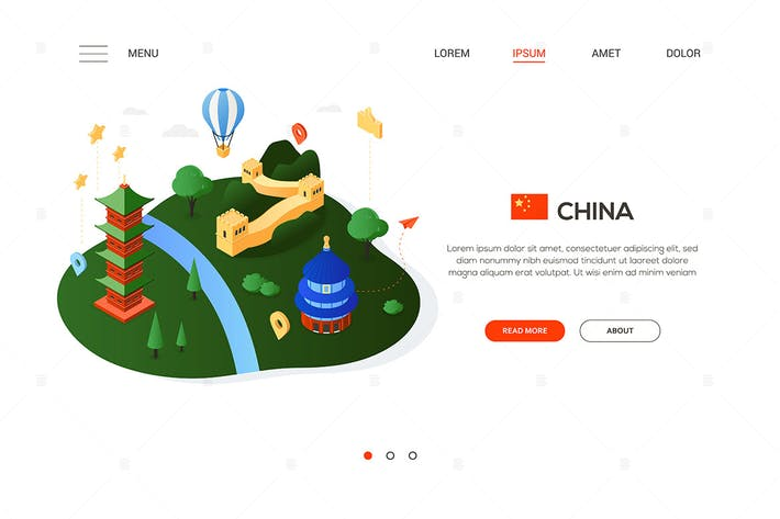 Thumbnail for Visite China - Moderno Banner isométrico colorido
