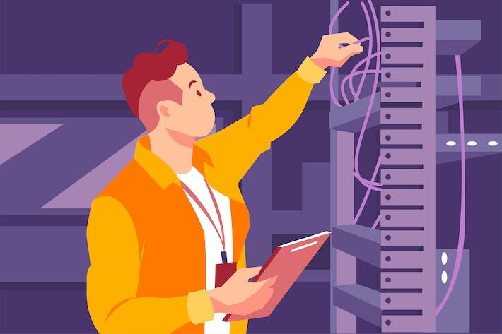 Thumbnail for Engineer man verifying the optical fiber