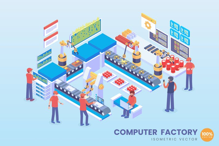 Isometric Computer Factory Vector Concept