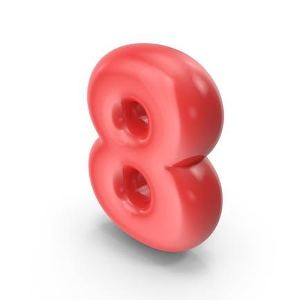 Roter Toon-Ballon Nummer 8