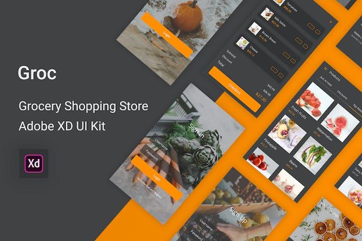 Thumbnail for Groc - Grocery Shopping Store Adobe XD UI Kit