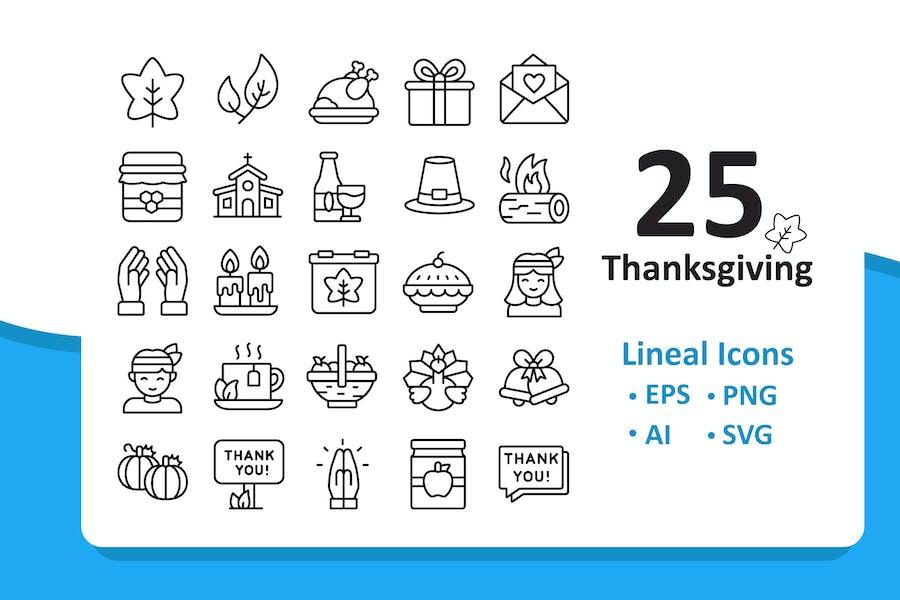 25 Thanksgiving Icons -  Line