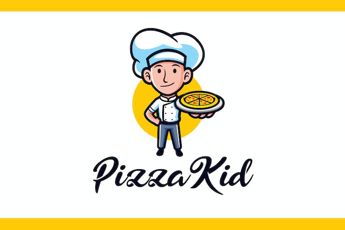 Thumbnail for Cartoon Pizza Kid Mascot Logo