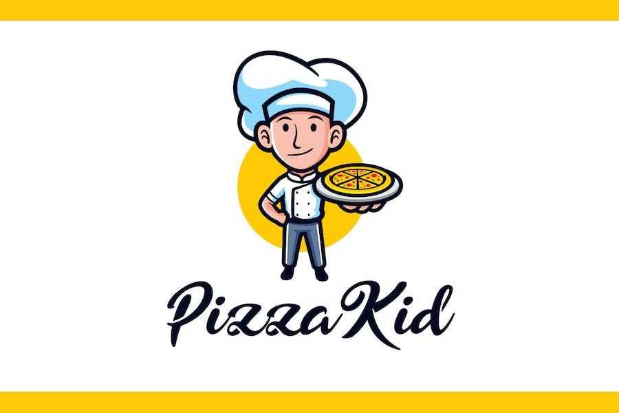Cartoon Pizza Kid Mascot Logo