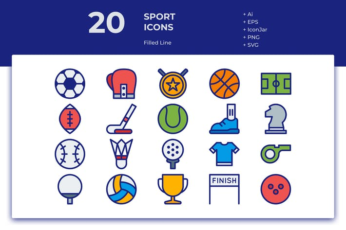 Thumbnail for 20 Sport Icons (Filled Line)