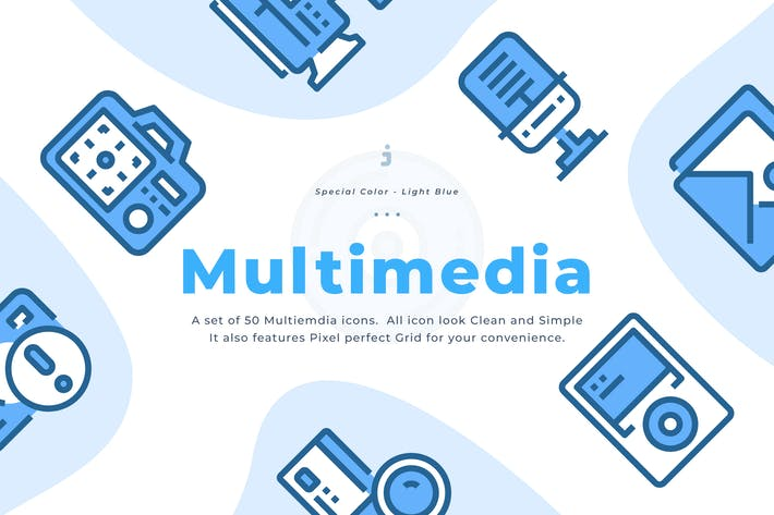 Thumbnail for 50 Multimedia Icons - Light Blue
