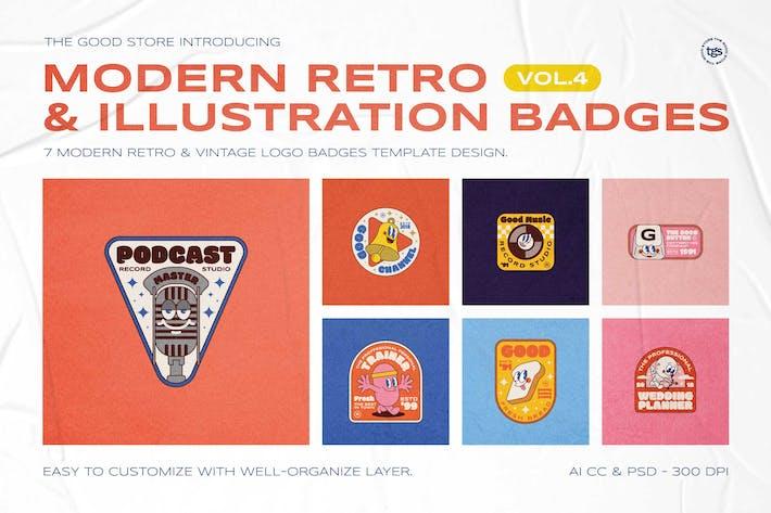 Thumbnail for Modern Retro Illustration Badges Vol.4