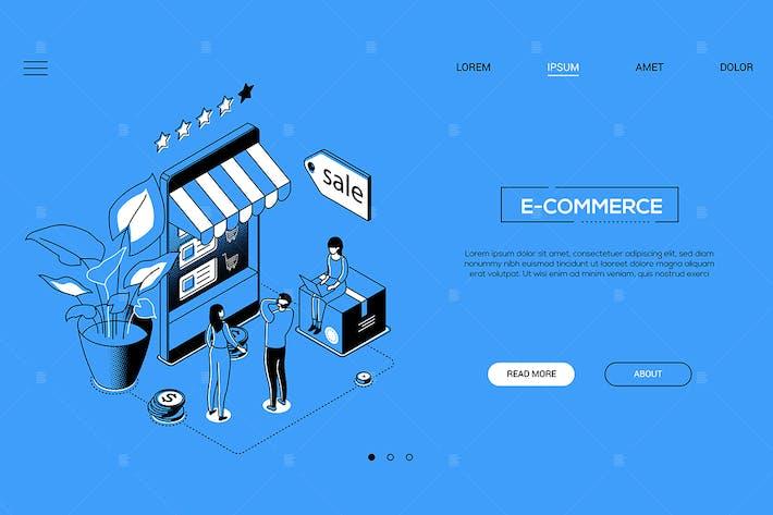 Thumbnail for E-commerce - line design style isometric banner