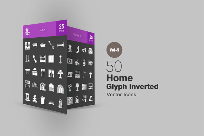 Thumbnail for 50 Home Glyph Inverted Icons