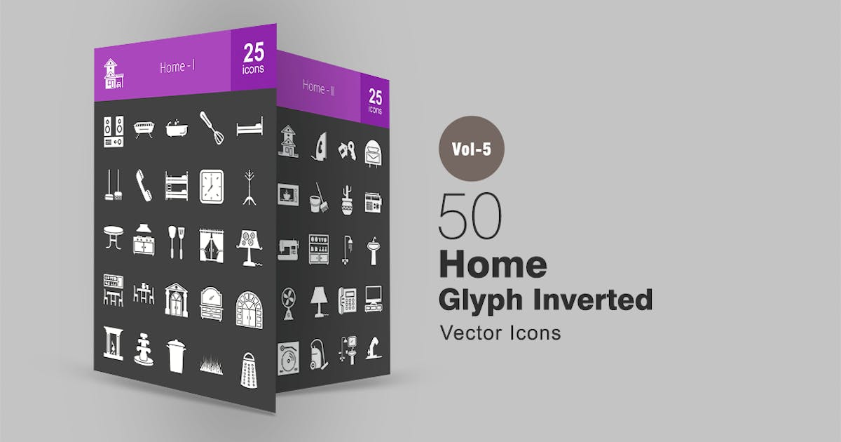 50 Home Glyph Inverted Icons by IconBunny