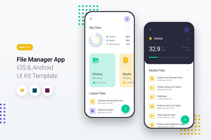 File Manager App iOS & Android UI Kit Template 1