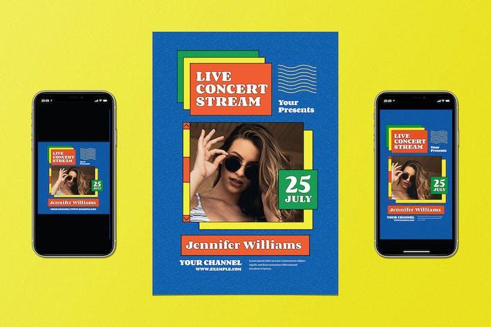 Thumbnail for Trendy Live Concert Stream Flyer Set