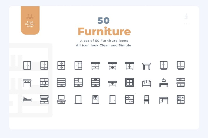 Thumbnail for 50 Furniture Icons - Material Icon