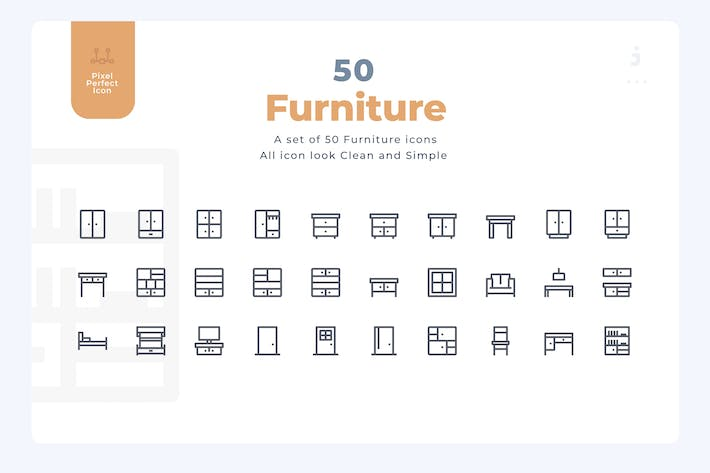 50 Furniture Icons - Material Icon