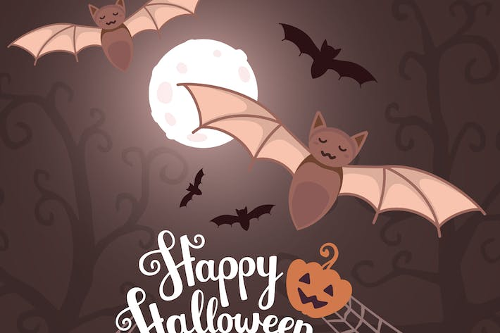 Thumbnail for Set of halloween illustrations with bats, pumpkins