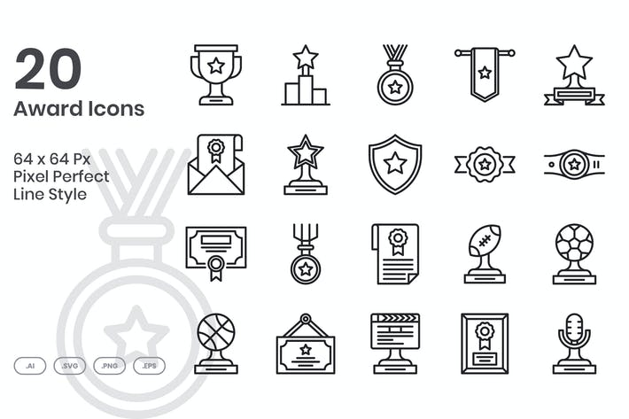 Thumbnail for 20 Award Icons Set - Line