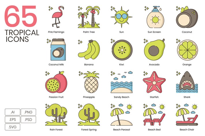 Thumbnail for 65 Icons für tropische Linien