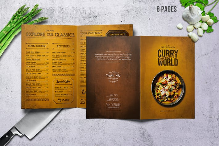 Thumbnail for Curry World Retro Bifold Menu A4 and US Letter