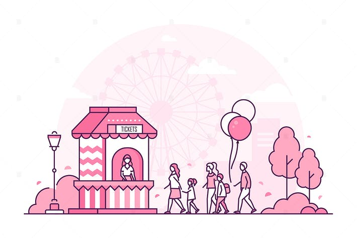 Thumbnail for Amusement park - line design style illustration