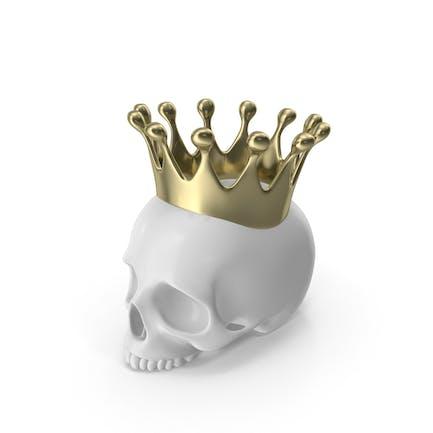 Weiße Totenkopf Kerze mit goldener Krone