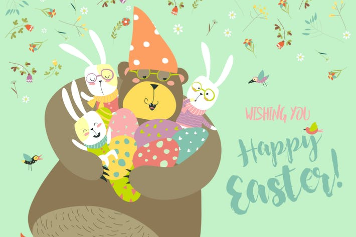 Thumbnail for Happy Easter greeting vector illustration