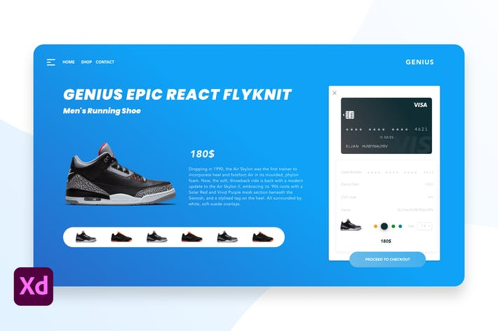 Thumbnail for Sneakers Shop eCommerce in Adobe XD Template