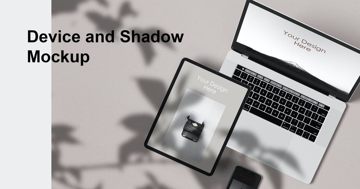 Download Device & shadow Mockup by GraphicGata
