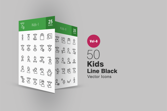 Thumbnail for 50 Kids Line Icons